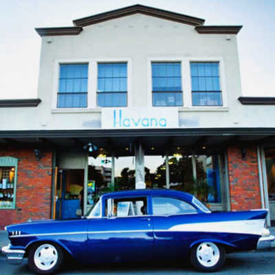 Blue 1957 Chevy in front of Havana Restaurant, Walnut Creek, CA