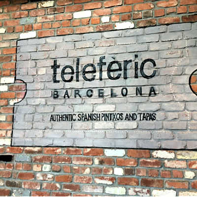 Brick sign in front of Teleferic Barcelona Restaurant, Walnut Creek, CA