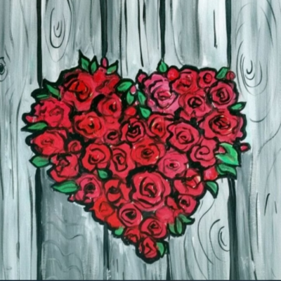 "PAINT NITE ""RED ROSES NATURE HEART"""