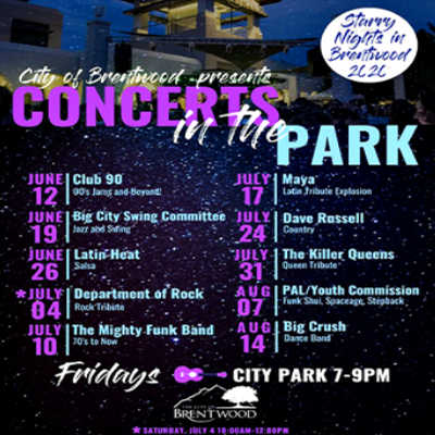 2020 Brentwood Starry Nights Park Concerts July 10 - Aug 14