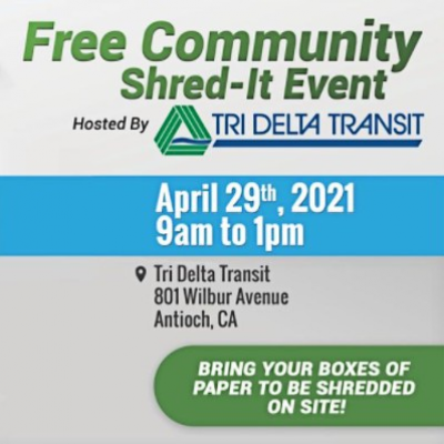 Free Community Shred-It Event hosted by Tri Delta Transit