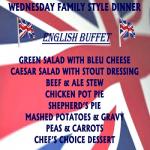 WEDNESDAY FAMILY BUFFET ENGLISH CUISINE NIGHT